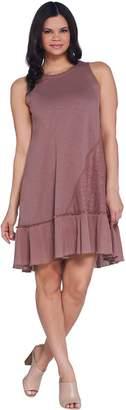 Logo By Lori Goldstein LOGO by Lori Goldstein Cotton Slub Tank Dress with Crochet Lace