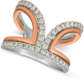 LeVian Le Vian Nude DiamondsTM Two-Tone Statement Ring (3/4 ct. t.w.) in 14k White & Rose Gold