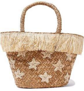 Kayu Fringed Embroidered Woven Straw Tote