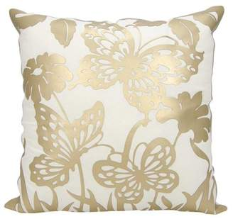 Nourison Luminecence Butterfly Garden Gold Throw Pillow