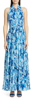 Badgley Mischka Brushstroke Print Shirtdress Gown