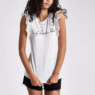 River Island White 'positive vibes' broderie tank top