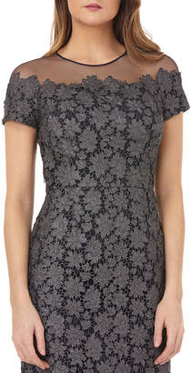 JS Collections Jewel-Neck Short-Sleeve Metallic Chemical Lace Illusion Dress