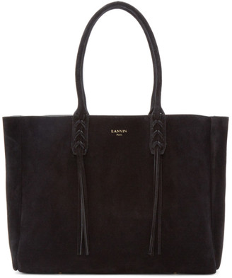 Lanvin Black Suede Small Shopper Tote $1,495 thestylecure.com