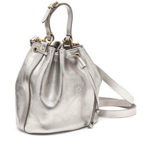 Il Bisonte Metallic Leather Drawstring Bucket Bag, Silver