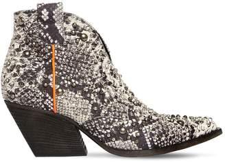 Elena Iachi 60mm Studded Snake Print Leather Boots