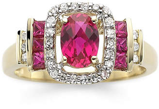 JCPenney FINE JEWELRY 1/7 CT. T.W. Diamond & Lead Glass-Filled Ruby 10K Gold Ring