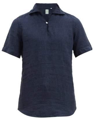 ec301bfe3b07 Finamore 1925 - Palma Notch Neck Slubbed Linen Chambray Shirt - Mens -  Indigo