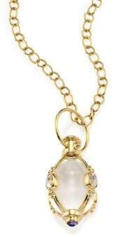 Temple St. Clair Classic Rock Crystal, Royal Blue Moonstone& 18K Yellow Gold Charm