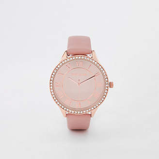 River Island Pink rose gold tone rhinestone round face watch