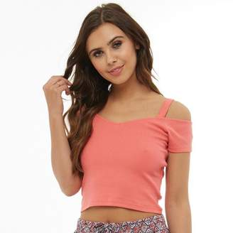 Board Angels Womens Cold Shoulder Top Sugar Coral