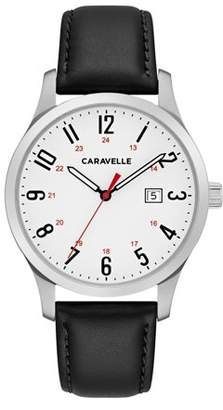 Bulova CARAVELLE Designed by Caravelle Men's Black Leather Easy Reader Watch 40mm
