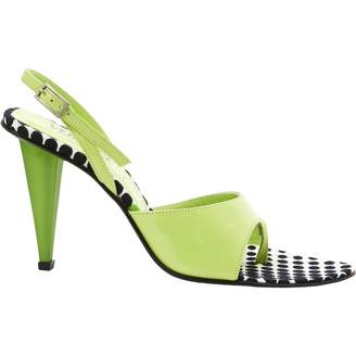 Versace Green Leather Sandals
