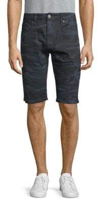 X-RAY Jeans Camouflage Moto Denim Shorts
