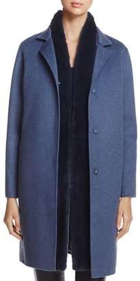 Maximilian Furs Wool & Cashmere Coat with Detachable Mink Fur Vest