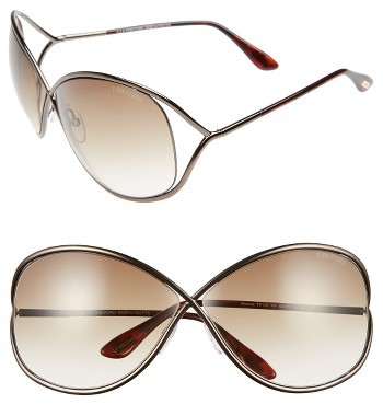 Women's Tom Ford Miranda 68Mm Open Temple Oversize Metal Sunglasses - Bronze