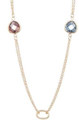 Rivka Friedman 18K Gold Clad Double Chain Stone Necklace