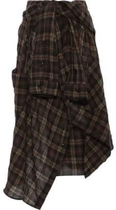 Faith Connexion Tie-front Asymmetric Checked Wool-blend Midi Skirt