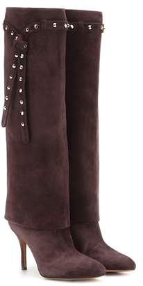 Valentino Embellished suede knee-high boots