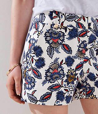 LOFT Summer Blossom Button Tab Shorts