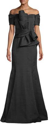 Badgley Mischka Off-the-Shoulder Textured-Twist Trumpet Gown