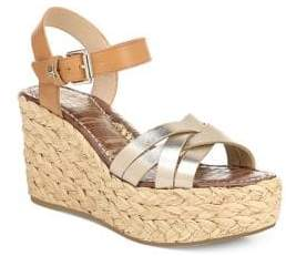 Sam Edelman Women's Darline Leather Platform Wedge Espadrilles - Gold - Size 10