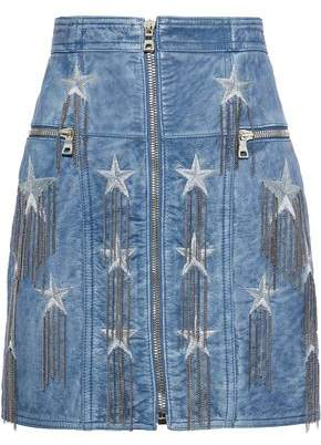 Balmain Chain-Embellished Metallic Embroidered Leather Mini Skirt