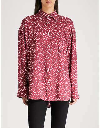 Balenciaga Ladies Red Masculin Printed Cotton-Poplin Shirt