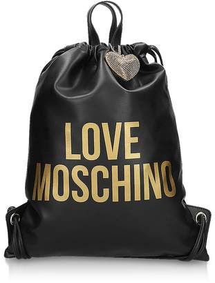 Love Moschino Golden Signature Printed Eco Leather Gym Bag