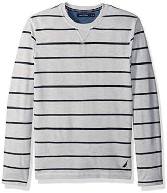 Nautica Men's Long Sleeve Cotton Pique Crew Neck Shirt