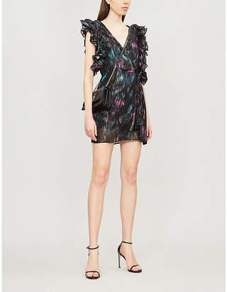 The Kooples Sleeveless abstract-print crepe mini dress