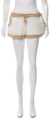 Anna Kosturova Crochet-Accented Mid-Rise Shorts