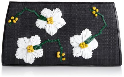 Nancy Gonzalez Preorder Flower Embroidered Crocodile & Straw Clutch