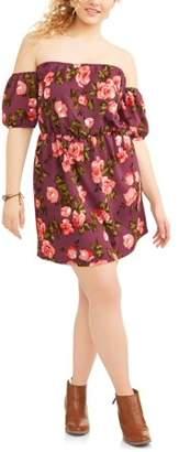 POOF Junior's Plus Off Shoulder Floral Printed Sun Dress