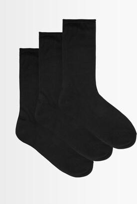 Raey Set Of Three Roll Top Silk Socks - Womens - Black