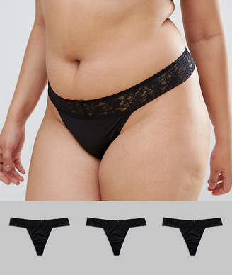 Asos DESIGN Curve 3 pack basic leafy lace band microfibre thong