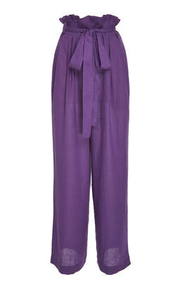 Lenny Niemeyer Clochard High-Waisted Wide-Leg Linen Pants