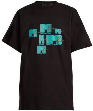Martine Rose Mtv Print Cotton T Shirt - Womens - Black