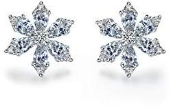 L・I・U Fei Liu Fine Jewellery Tiny Floral Star Womens Earrings Best Christmas Gift with Classic Winter Touches 925 Sterling Silver AAA Cubic Zirconia Gift Box Packed