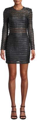 Elliatt Cyanite Long-Sleeve Sheer Striped Mini Dress