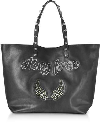 RED Valentino Stay Free Black Leather Tote