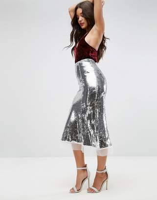 Asos DESIGN Sequin Midaxi Pencil Skirt