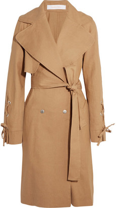 Linen And Cotton-blend Trench Coat - Camel