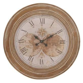 3.1 Phillip Lim DecMode Decmode Traditional Inch Distressed Pine Wood Round World Map-Designed Wall Clock, Brown