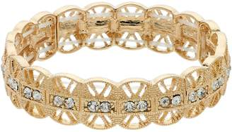 Lauren Conrad Gold Tone Filigree Simulated Crystal Stretch Bracelet