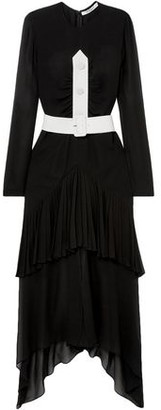 Givenchy Belted Button-embellished Pleated Silk-chiffon Maxi Dress