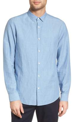 Theory Murrary Indy Regular Fit Solid Cotton & Linen Sport Shirt