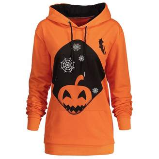 Halloween Decorations Charberry Women Hooded Halloween Pumpkin Pocket Drawstring Printed Hoodie Sweatshirt Tops