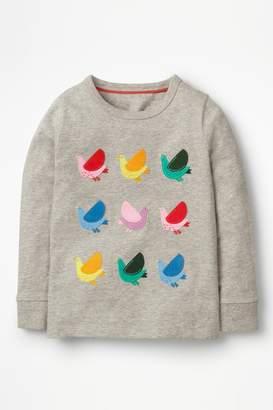 Next Girls Boden Grey Textured Appliqué T-Shirt