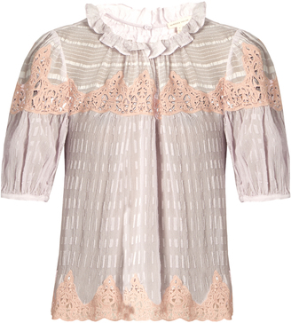 REBECCA TAYLOR Macramé-lace panelled silk blouse $375 thestylecure.com